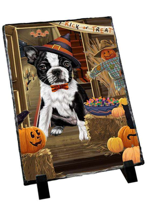 Enter at Own Risk Trick or Treat Halloween Boston Terrier Dog Photo Slate SLT53038