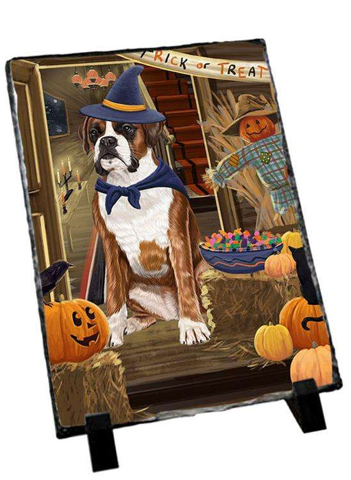 Enter at Own Risk Trick or Treat Halloween Boxer Dog Photo Slate SLT53039
