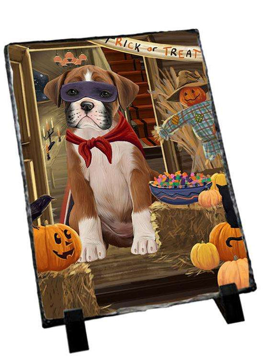 Enter at Own Risk Trick or Treat Halloween Boxer Dog Photo Slate SLT53040