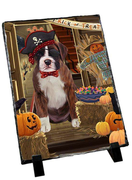 Enter at Own Risk Trick or Treat Halloween Boxer Dog Photo Slate SLT53041