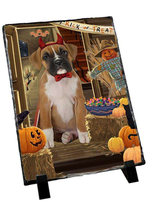 Enter at Own Risk Trick or Treat Halloween Boxer Dog Photo Slate SLT53042