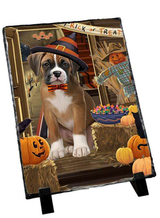 Enter at Own Risk Trick or Treat Halloween Boxer Dog Photo Slate SLT53043