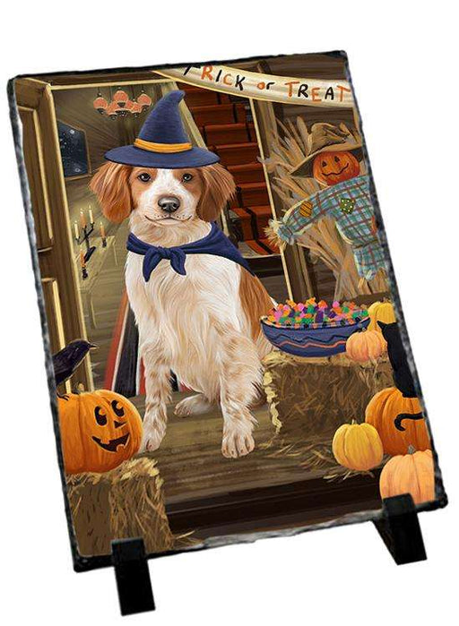 Enter at Own Risk Trick or Treat Halloween Brittany Spaniel Dog Photo Slate SLT53044