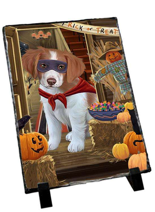 Enter at Own Risk Trick or Treat Halloween Brittany Spaniel Dog Photo Slate SLT53045