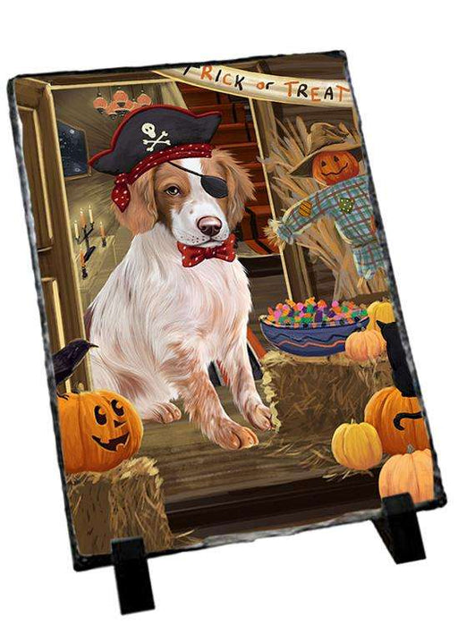 Enter at Own Risk Trick or Treat Halloween Brittany Spaniel Dog Photo Slate SLT53046