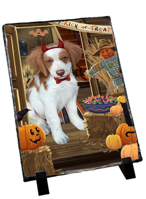 Enter at Own Risk Trick or Treat Halloween Brittany Spaniel Dog Photo Slate SLT53047