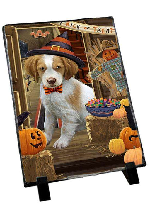 Enter at Own Risk Trick or Treat Halloween Brittany Spaniel Dog Photo Slate SLT53048