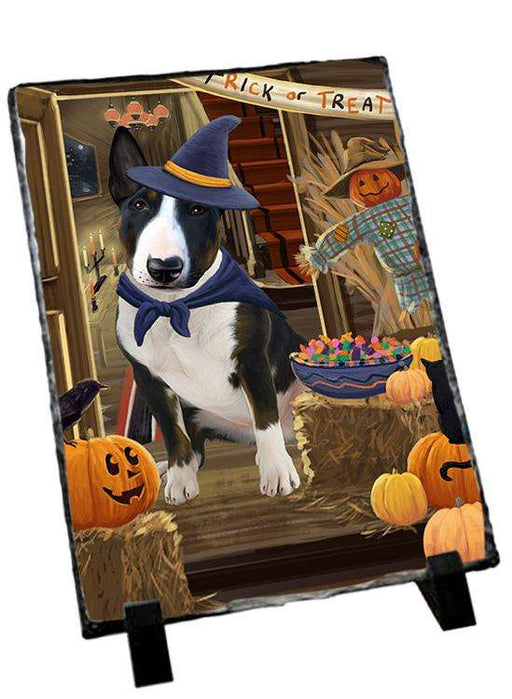 Enter at Own Risk Trick or Treat Halloween Bull Terrier Dog Photo Slate SLT53049