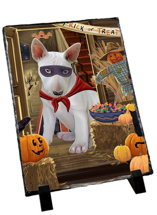 Enter at Own Risk Trick or Treat Halloween Bull Terrier Dog Photo Slate SLT53050