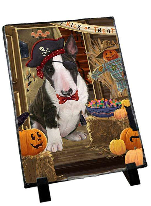 Enter at Own Risk Trick or Treat Halloween Bull Terrier Dog Photo Slate SLT53051