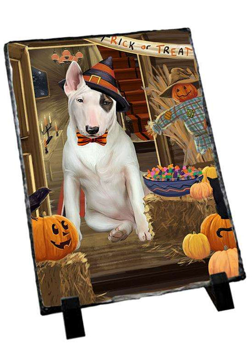 Enter at Own Risk Trick or Treat Halloween Bull Terrier Dog Photo Slate SLT53053