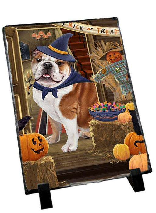 Enter at Own Risk Trick or Treat Halloween Bulldog Photo Slate SLT53054