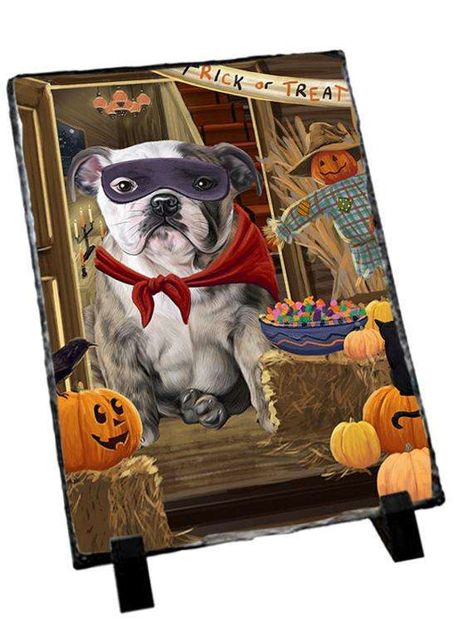 Enter at Own Risk Trick or Treat Halloween Bulldog Photo Slate SLT53055