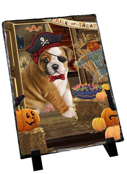Enter at Own Risk Trick or Treat Halloween Bulldog Photo Slate SLT53056