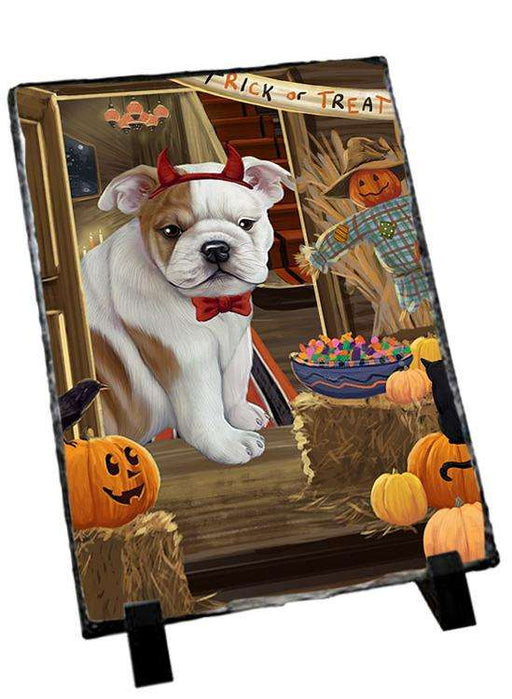 Enter at Own Risk Trick or Treat Halloween Bulldog Photo Slate SLT53057