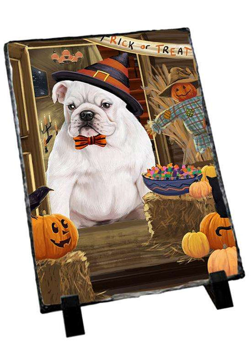 Enter at Own Risk Trick or Treat Halloween Bulldog Photo Slate SLT53058