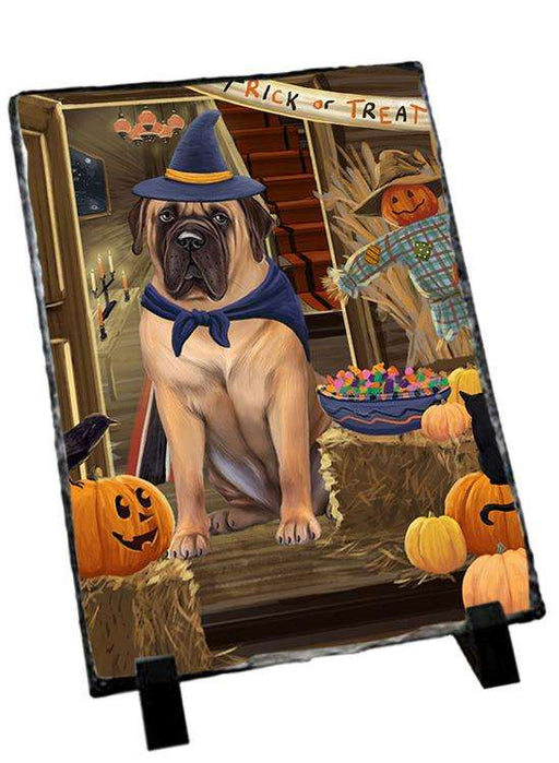Enter at Own Risk Trick or Treat Halloween Bullmastiff Dog Photo Slate SLT53059