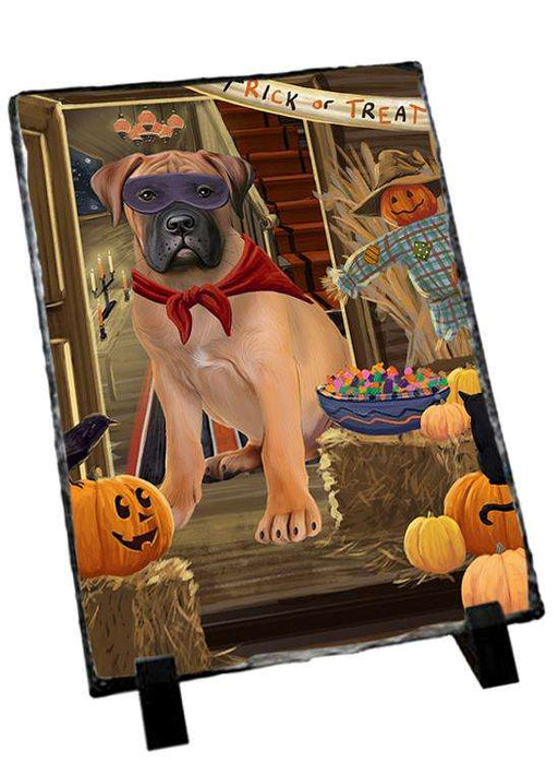 Enter at Own Risk Trick or Treat Halloween Bullmastiff Dog Photo Slate SLT53060