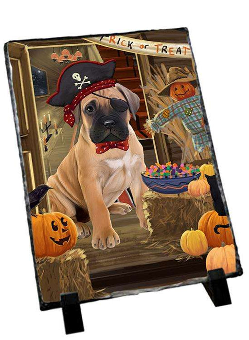 Enter at Own Risk Trick or Treat Halloween Bullmastiff Dog Photo Slate SLT53061