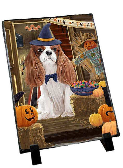 Enter at Own Risk Trick or Treat Halloween Cavalier King Charles Spaniel Dog Photo Slate SLT53069