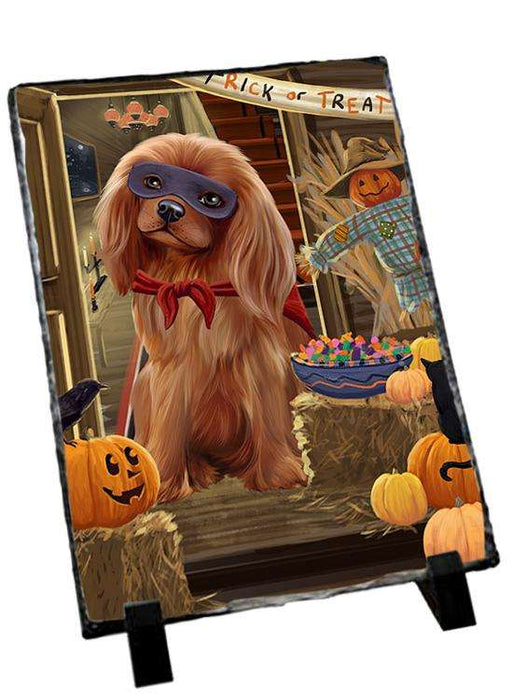 Enter at Own Risk Trick or Treat Halloween Cavalier King Charles Spaniel Dog Photo Slate SLT53070