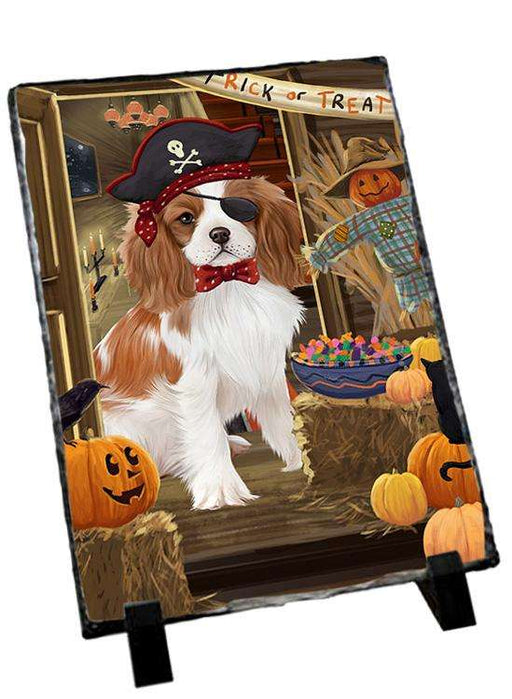 Enter at Own Risk Trick or Treat Halloween Cavalier King Charles Spaniel Dog Photo Slate SLT53071