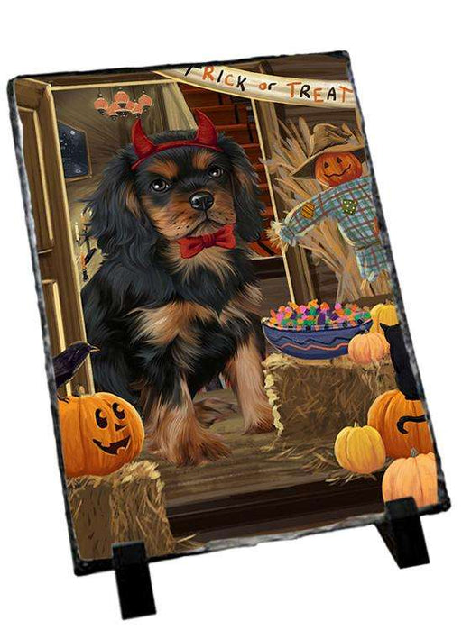 Enter at Own Risk Trick or Treat Halloween Cavalier King Charles Spaniel Dog Photo Slate SLT53072