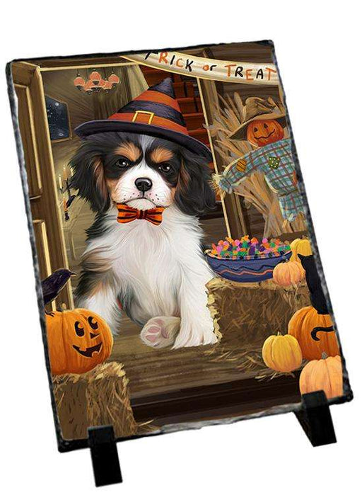 Enter at Own Risk Trick or Treat Halloween Cavalier King Charles Spaniel Dog Photo Slate SLT53073