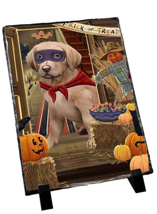 Enter at Own Risk Trick or Treat Halloween Chesapeake Bay Retriever Dog Photo Slate SLT53075