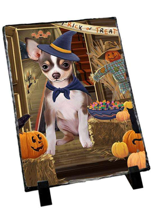 Enter at Own Risk Trick or Treat Halloween Chihuahua Dog Photo Slate SLT53079