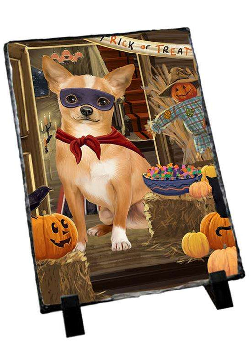 Enter at Own Risk Trick or Treat Halloween Chihuahua Dog Photo Slate SLT53080
