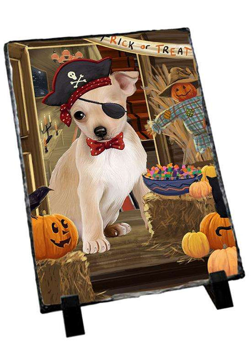 Enter at Own Risk Trick or Treat Halloween Chihuahua Dog Photo Slate SLT53081