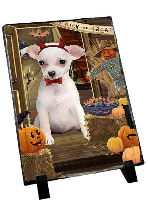Enter at Own Risk Trick or Treat Halloween Chihuahua Dog Photo Slate SLT53082