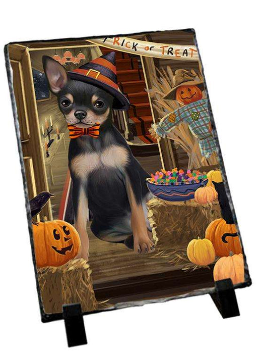 Enter at Own Risk Trick or Treat Halloween Chihuahua Dog Photo Slate SLT53083