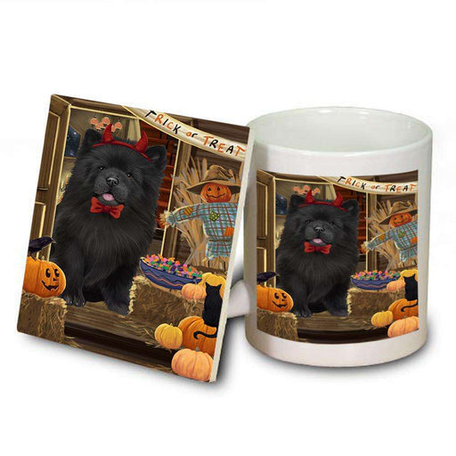 Enter at Own Risk Trick or Treat Halloween Chow Chow Dog Mug and Coaster Set MUC53079