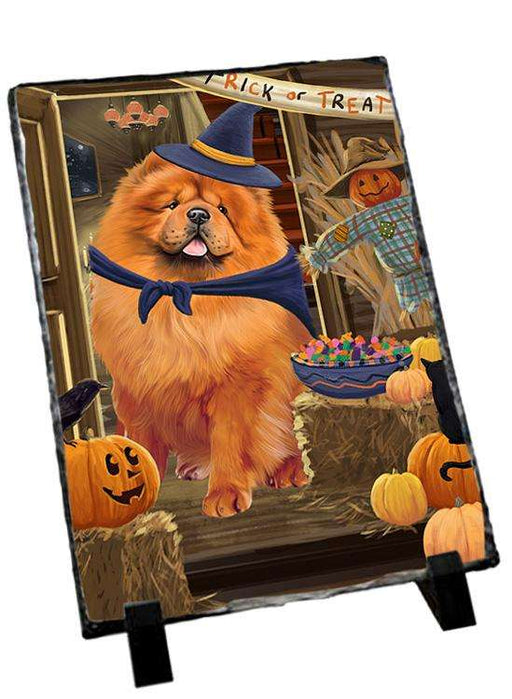 Enter at Own Risk Trick or Treat Halloween Chow Chow Dog Photo Slate SLT53084