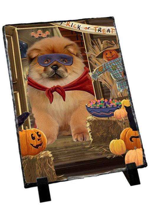 Enter at Own Risk Trick or Treat Halloween Chow Chow Dog Photo Slate SLT53085