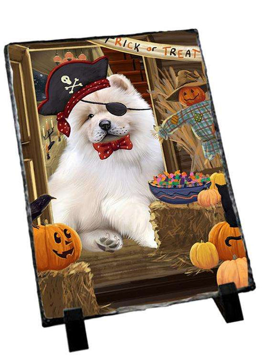 Enter at Own Risk Trick or Treat Halloween Chow Chow Dog Photo Slate SLT53086