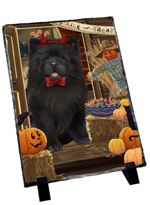 Enter at Own Risk Trick or Treat Halloween Chow Chow Dog Photo Slate SLT53087