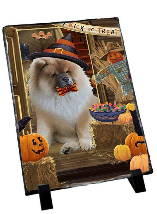 Enter at Own Risk Trick or Treat Halloween Chow Chow Dog Photo Slate SLT53088