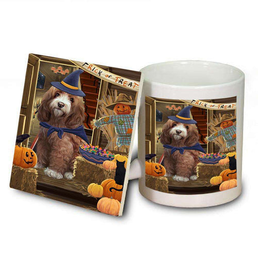 Enter at Own Risk Trick or Treat Halloween Cockapoo Dog Mug and Coaster Set MUC53081