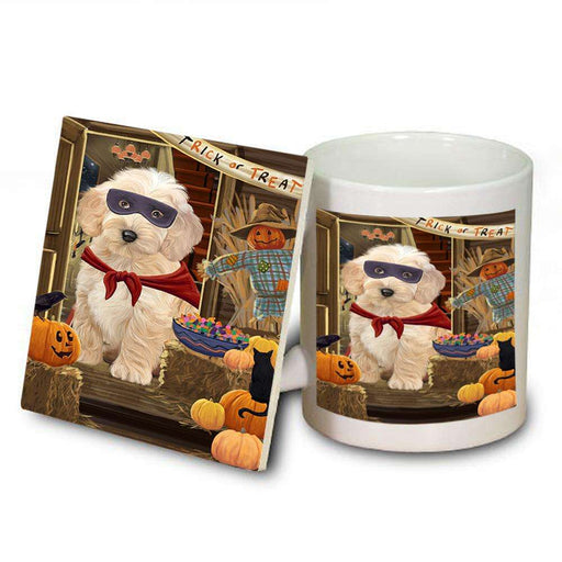 Enter at Own Risk Trick or Treat Halloween Cockapoo Dog Mug and Coaster Set MUC53082