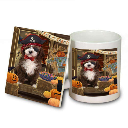 Enter at Own Risk Trick or Treat Halloween Cockapoo Dog Mug and Coaster Set MUC53083