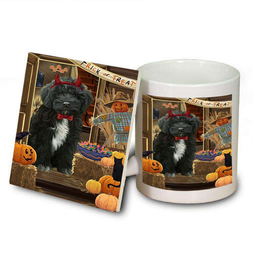 Enter at Own Risk Trick or Treat Halloween Cockapoo Dog Mug and Coaster Set MUC53084
