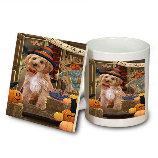 Enter at Own Risk Trick or Treat Halloween Cockapoo Dog Mug and Coaster Set MUC53085