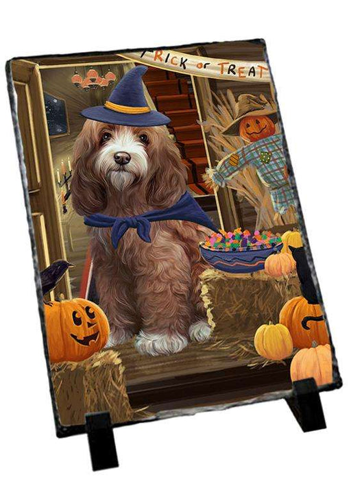 Enter at Own Risk Trick or Treat Halloween Cockapoo Dog Photo Slate SLT53089