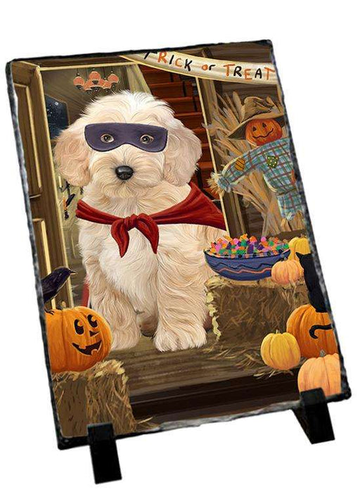 Enter at Own Risk Trick or Treat Halloween Cockapoo Dog Photo Slate SLT53090