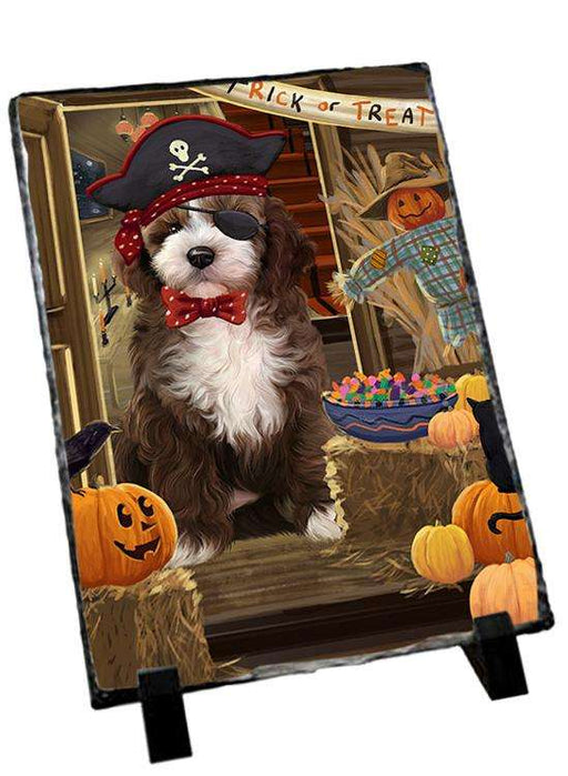 Enter at Own Risk Trick or Treat Halloween Cockapoo Dog Photo Slate SLT53091