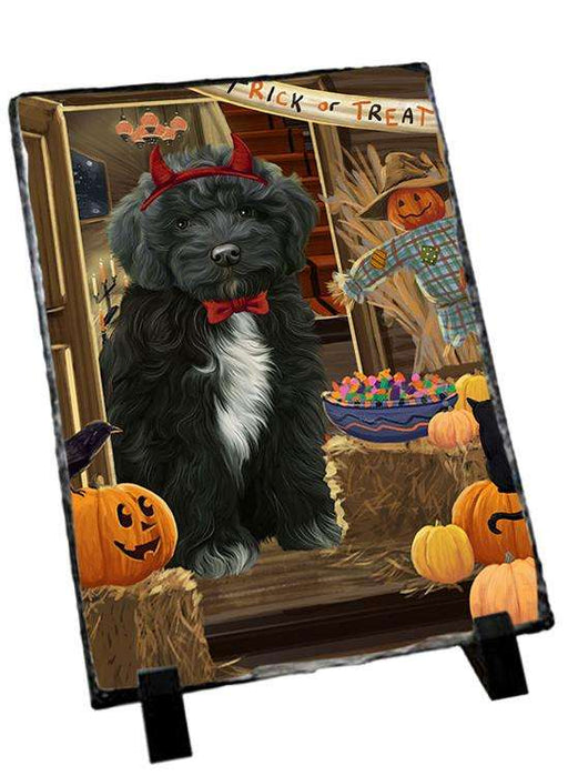 Enter at Own Risk Trick or Treat Halloween Cockapoo Dog Photo Slate SLT53092