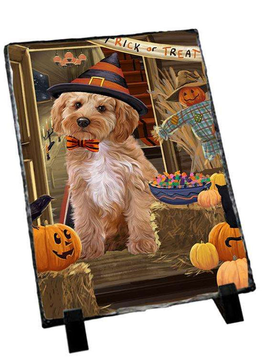 Enter at Own Risk Trick or Treat Halloween Cockapoo Dog Photo Slate SLT53093
